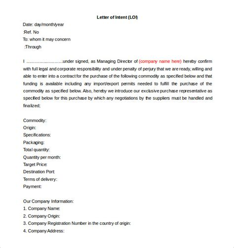 commitment action document template free intent letter templates 18 free word pdf