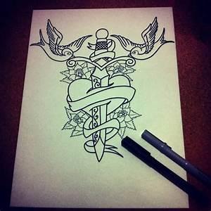 Big Dagger In Old School Heart Tattoo - Golfian.com