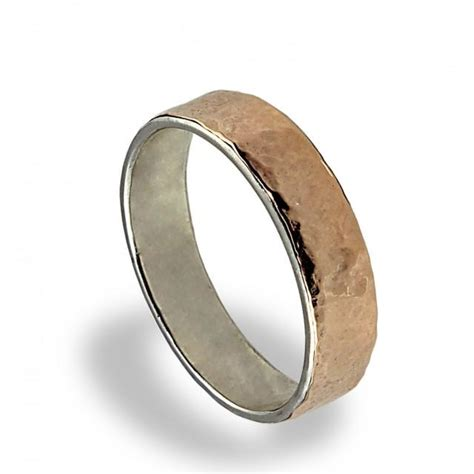 14k gold wedding band hammered texture wedding ring for gold silver wedding band