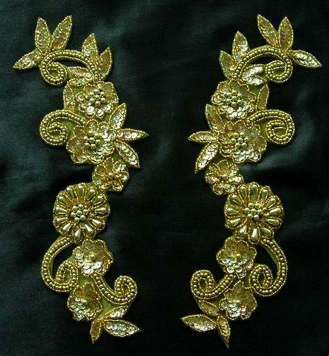 gold applique lr18 floral mirror pair sequin beaded applique hologram