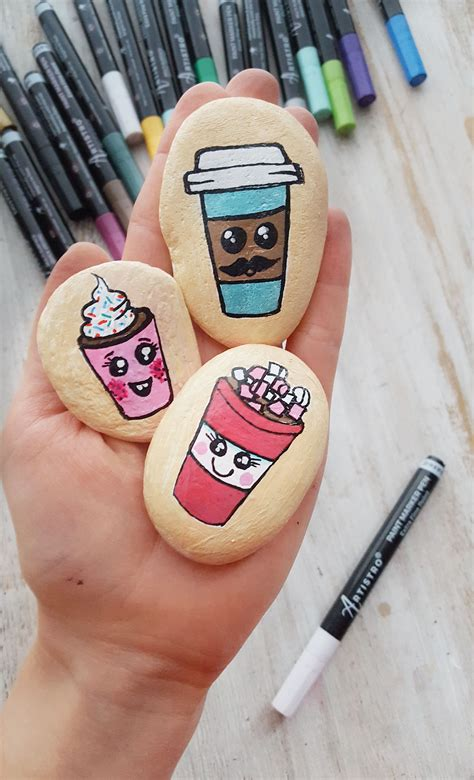The coffee theme has gone from traditional works to digital, and now you can see not only a piece of a real painting but also the life of coffee in digital format on she works with oil, acrylic or combination of oil/acrylic paint with structure paste. Coffee cup rock painting | Painted rocks, Painting, White ...
