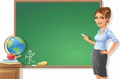 Teacher Clipart Blackboard Female Pointing Woman Arts