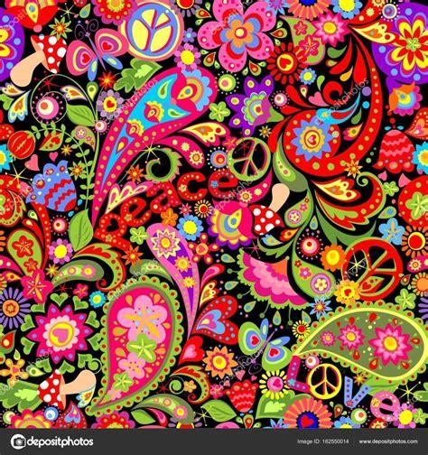 hippie bloemen hippie levendig behang met kleurrijke abstracte bloemen