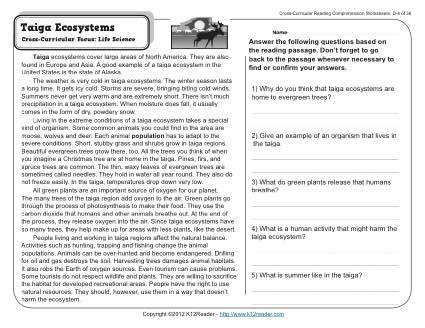 taiga ecosystems 4th grade reading comprehension worksheet