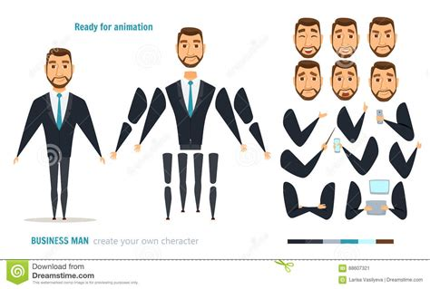 businessman character animation stock vector