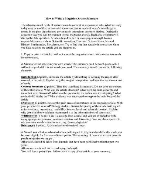 best photos of exle of summarizing an article article