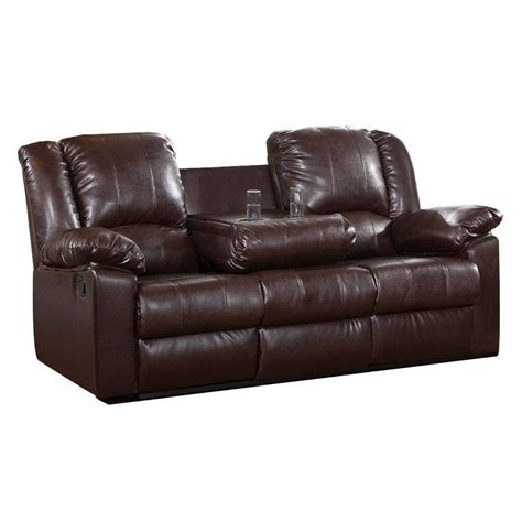 sofa with cup holders brown leather sofa modern faux couch reclining cup holder