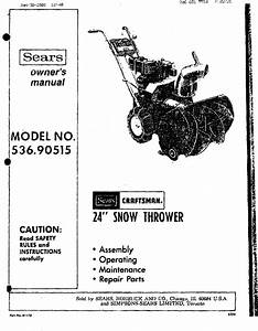Craftsman 53690515 User Manual 24 Snow Thrower Manuals And