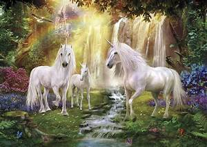 waterfall glade unicorns wall mural photo wallpaper With kitchen colors with white cabinets with thomas kinkade wall hanging art tapestry