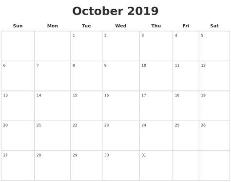 Blank Calendar Template August 2019