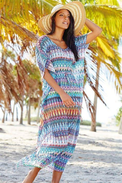 beautiful women beachwear zigzag kaftan dress