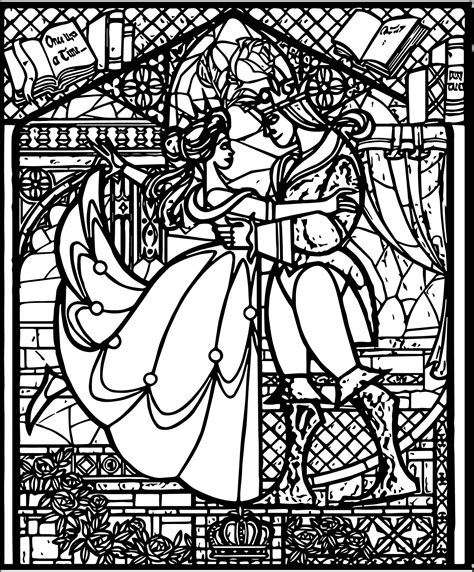 Belle Beast Stained Glass Coloring Pages Wecoloringpagecom