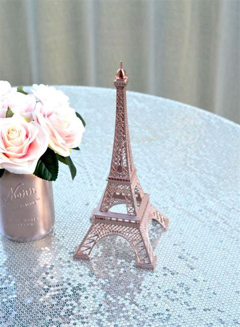 rose gold eiffel tower centerpiece parisians theme decor