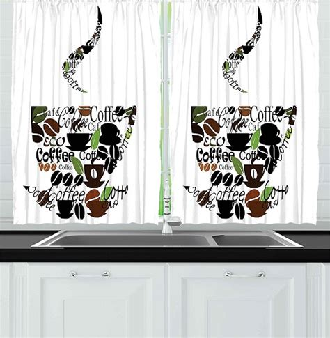 kitchen curtains coffee cup design 8 adorable coffee themed kitchen curtains 40 00 7908