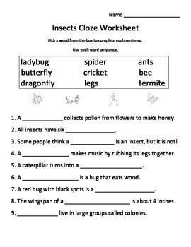insects worksheets free insects cloze worksheet fill in the blank science worksheets free