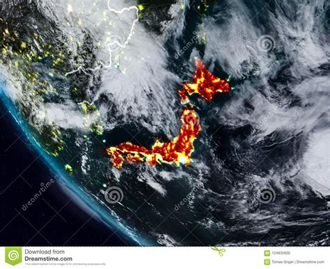 Japan At Night From Space Stock Illustration Illustration