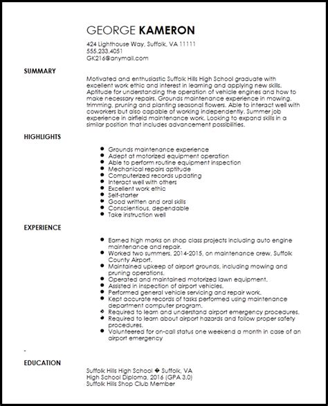 A V Technician Resume Template by Free Entry Level Maintenance Technician Resume Template