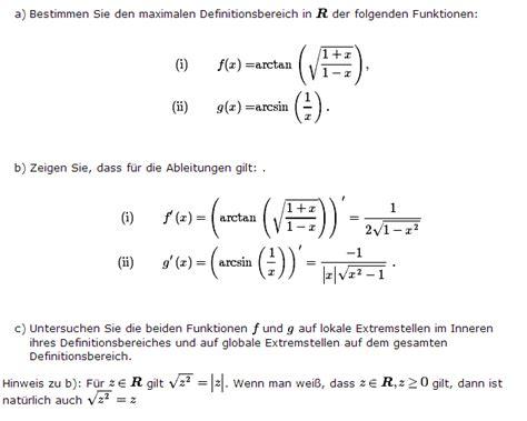 definitionsbereich und ableitungen fx arctan