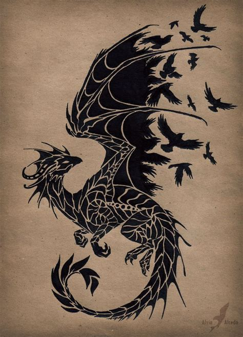 black raven dragon tattoo design  alvia alcedo