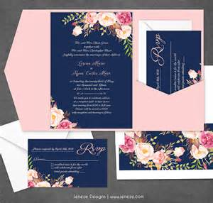 navy blue wedding invitations navy floral wedding invitation new product jeneze designs