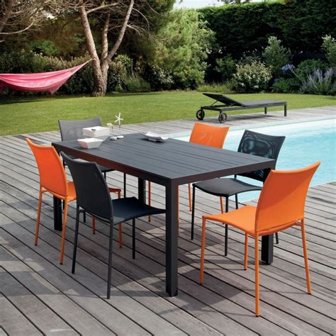 table et chaise de jardin en aluminium salon de jardin globe table aluminium 6 chaises gris