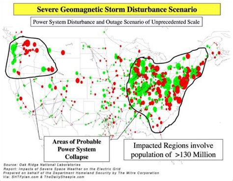 map areas  probable power system collapse  million