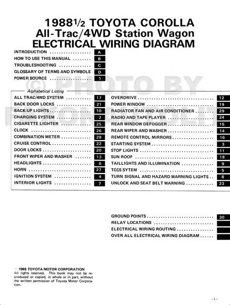 1988 toyota corolla all trac 4wd station wagon wiring