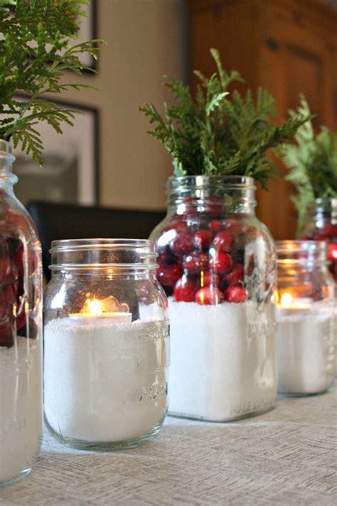 easy cranberry  snow mason jar centerpiece