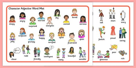 Character Adjective Word Mat  Character, Adjective, Word Mat