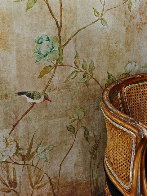 chinoiserie  sidney paul  gold wallpaper direct