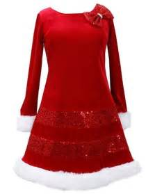 bonnie jean sequin red bow glitter velvet santa christmas dress girls 4 16 ebay