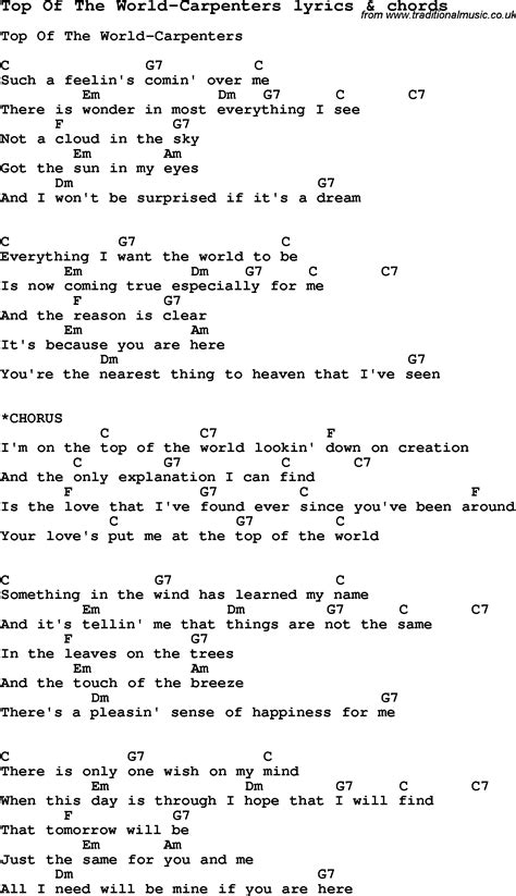 Best Song In The World by Song Lyrics For Top Of The World Carpenters With