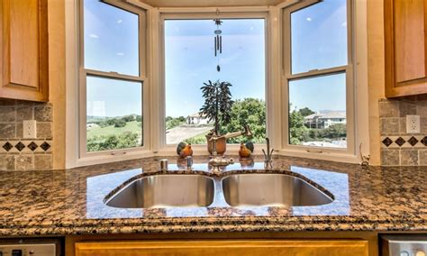 kitchen bay windows  sink steel  window ideas