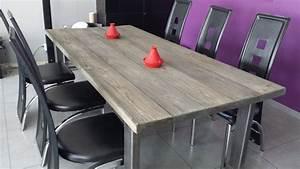 Table De Cuisine Grise : table de salle manger industriel plateau en sapin massif gris de 4 5 cm id e d coration ~ Dode.kayakingforconservation.com Idées de Décoration