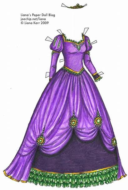 Princess Purple Gown Coloring Paper Dolls Gold