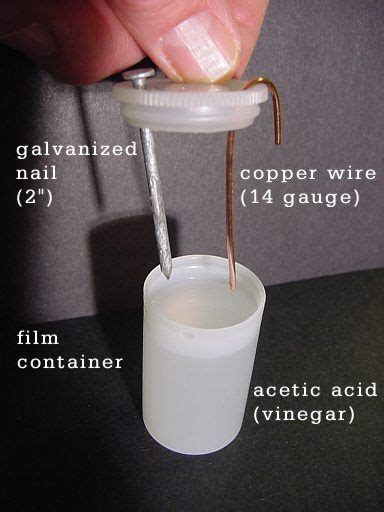 Simple Vinegar Battery Exercise Electrochemical