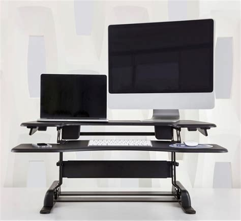 dual monitor standing desk converter convert your existing desk to a standing desk with varidesk