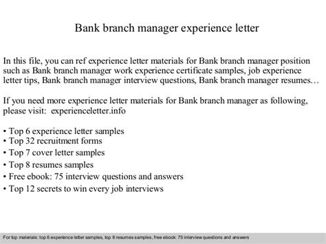 bank branch manager experience letter