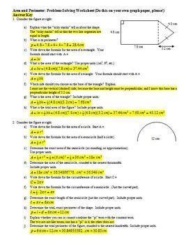 area  perimeter problem solving worksheet  answer