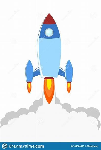 Rocket Launch Illustration Cartoon Booster Clipart Fire