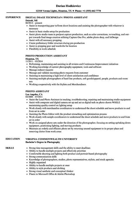 photo assistant resume sles velvet jobs