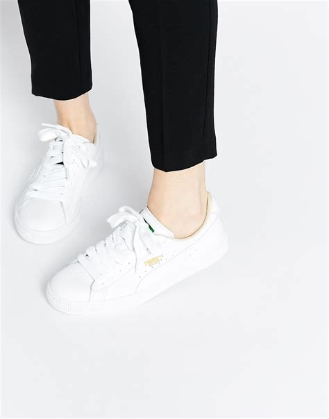 puma basket classic white trainers women
