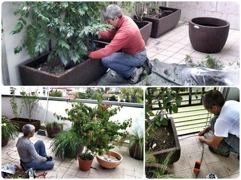 allestire un terrazzo gardenpink al lavoro per allestire painte e impianto di