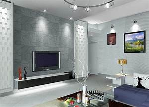 Interior living room design with TV wall Download 3D House