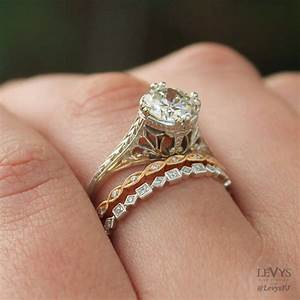 Modern vintage wedding bands wedding ideas for Wedding rings to go with solitaire engagement ring