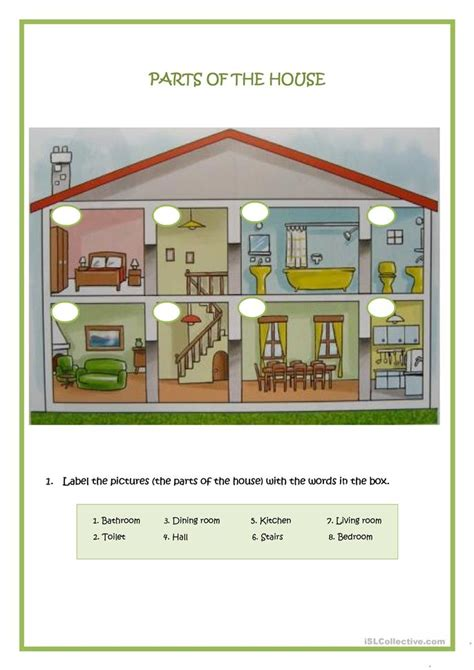 parts of a house parts of the house worksheet free esl printable