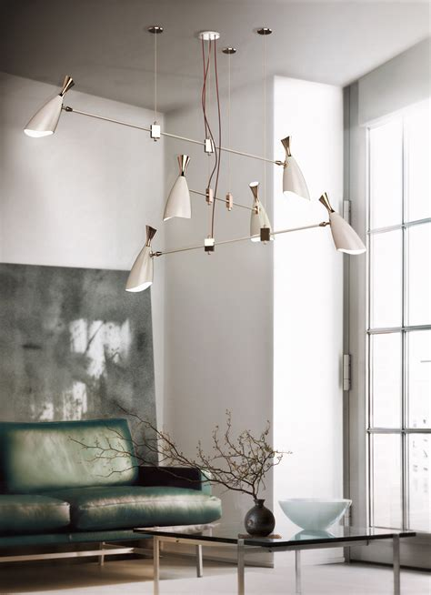mid century modern brass chandeliers for a hospitality