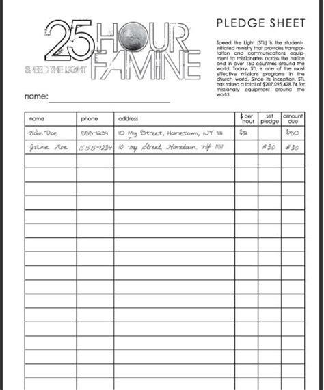 images  pledge sheet template leseriailcom