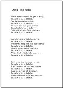 ... Songs Lyrics For Kids Printable Christmas song lyrics deck the