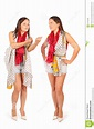 Two Same Women In Studio On White Background Stock Image ...